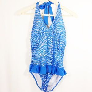 Justice Swimsuit Shimmery Blue and Silver Girls 16